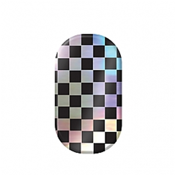 chrome nail, checkers, holographic, black