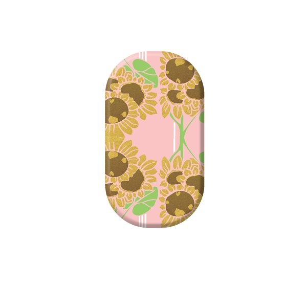 chrome nail, gold, flower, sunflower, pink