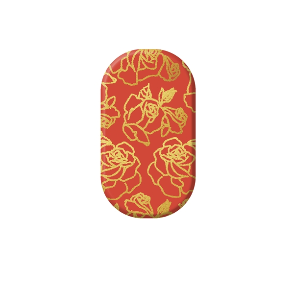 chrome nail, gold, flower, nail art, metallic, red