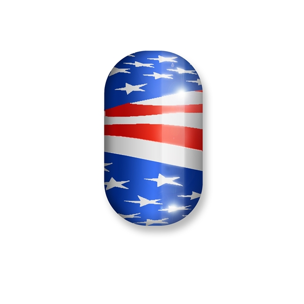 chrome nail, red white blue, silver, flag, america, usa