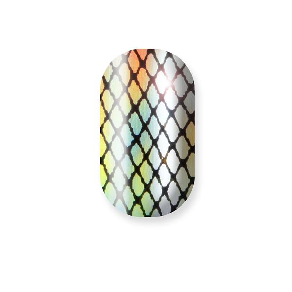 chrome nail, holographic fishnet,