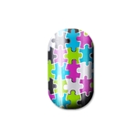 chrome, nail, puzzle, hot green, purple, silver nail art, lisa logan