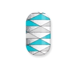 chrome nail, nail art, turquoise , white, silver, triangles, naja